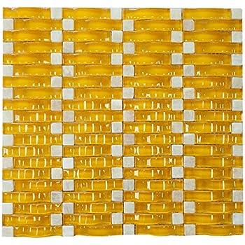Yellow Glossy Sea Wave Glass Mosaic Tile For Bathroom And Kitchen Walls Kitchen Backsplashes Amazon Com