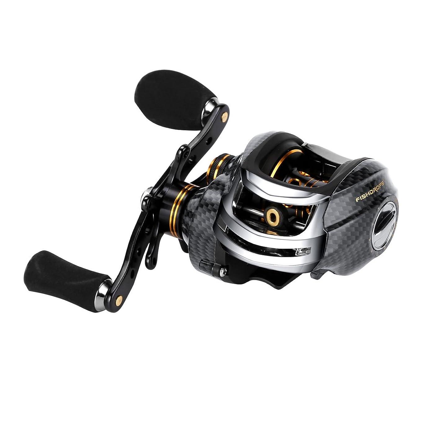 封筒薄暗いラオス人Fishdrops 超スムーズ リール 二重ブレーキシステム付き 18ボールベアリング ベイトキャスティング フィッシングリール フィッシングギア バス釣用に最適