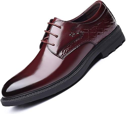 XIANGBAO-Personality Chaussures Oxford pour Hommes Chaussures schématiques à Lacets Lacets Lacets en Cuir Microfibre Style Couture Personnalisée Rétro Mode (Couleur   Marron, Taille   39 EU) 9c0