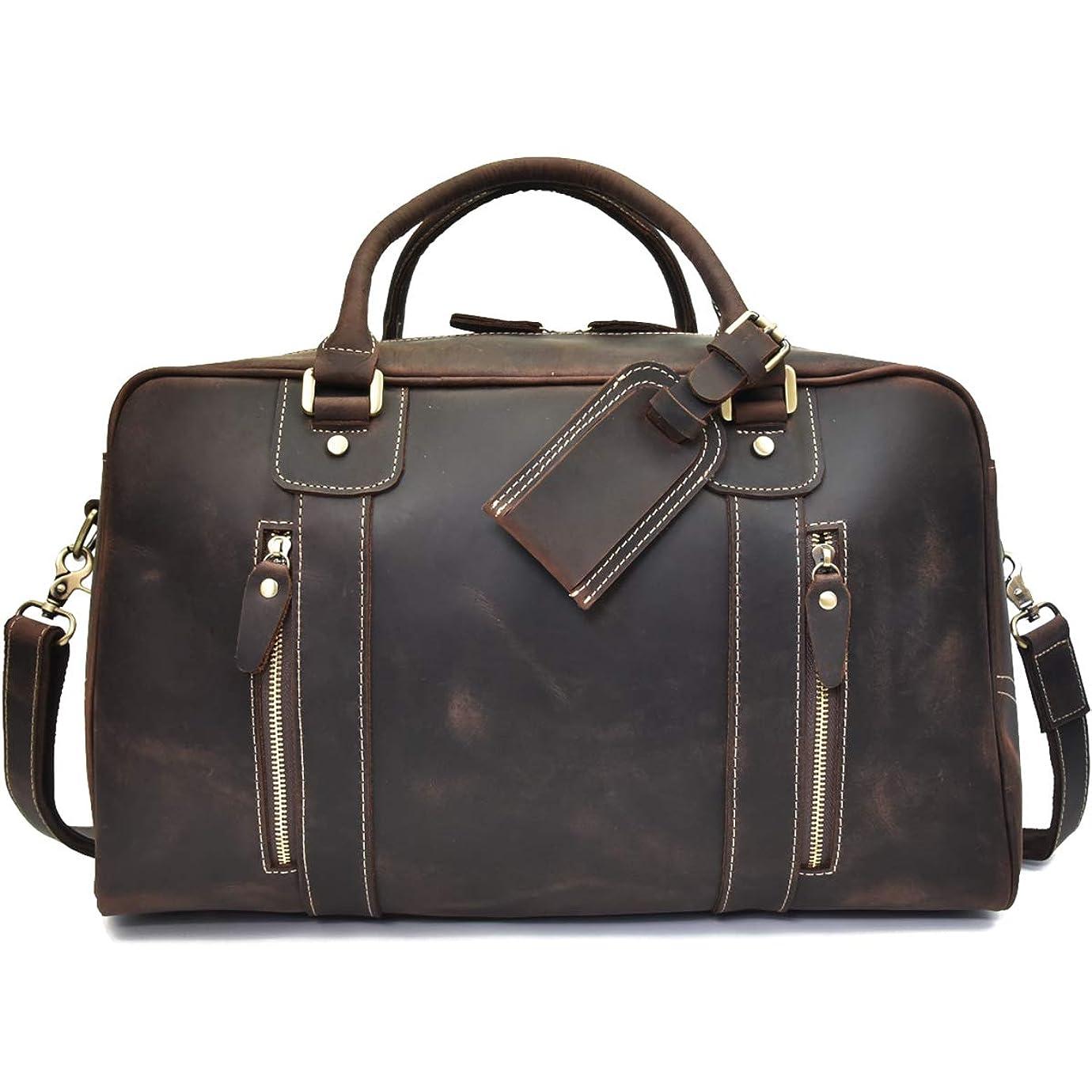 ホラー原点墓本革 ボストンバッグ メンズ 機内持ち込み 旅行鞄 レザー トラベルバッグ 大容量 2way 耐久 レトロ 牛革 ゴルフバッグ 旅行バッグ 45cm