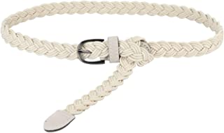 uxcell® Adjustable Thin Braided Waistband Rope Faux Leather Belts for Women