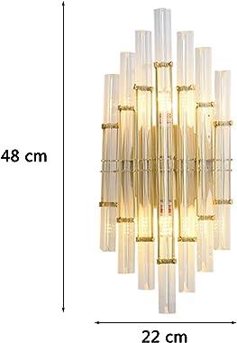 DESLP Applique Murale en Cristal Interieur Moderne, Lampe Murale Cristal Dore avec Abat-jour en Verre, Lumière Blanc Chaud 30