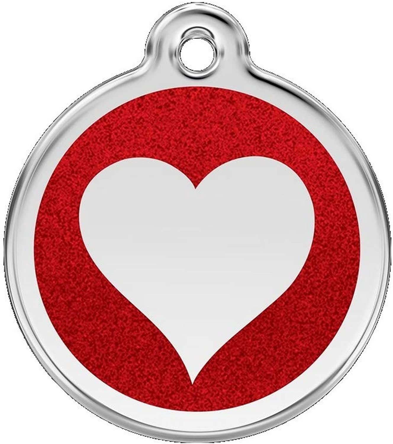 Red Dingo Stainless Steel with Glitter Pet I.D. Tag  Heart (red, small)