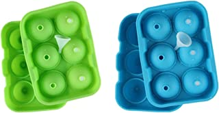 Ice Ball Maker Mold - Flexible Food Grade Silicone Ice Tray Molds 6 X 4.6cm Round Ice Ball Spheres (Blue+Gree 2pack)