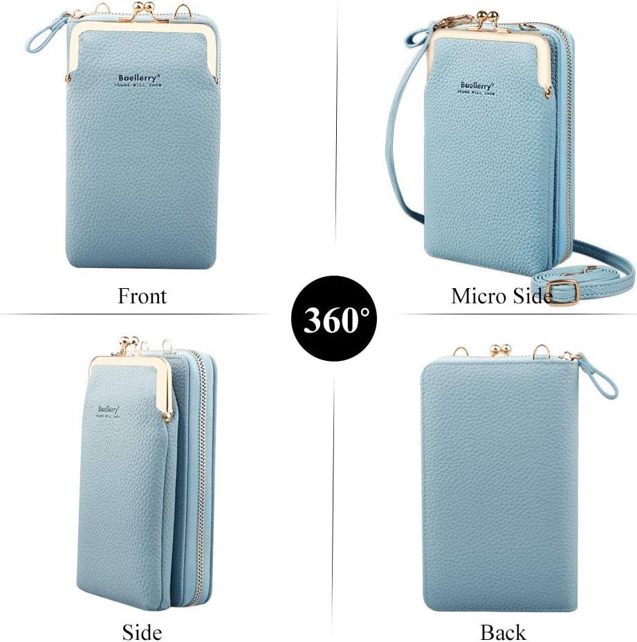 Blau Larber Damen Handy-Umh/ängetasche PU Leder RFID Blockierung Handytasche Geldb/örse mit Kartenf/ächer Verstellbar Abnehmbar Schultergurt Passt Handy unter 6,5