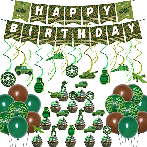 Camouflage Birthday Party Decorations Army Soldier Military Party Supplies Green Camo Balloons Happy Birthday Banner Hanging Swirls Cupcake Toppers for Boys Girls Adults Veteran