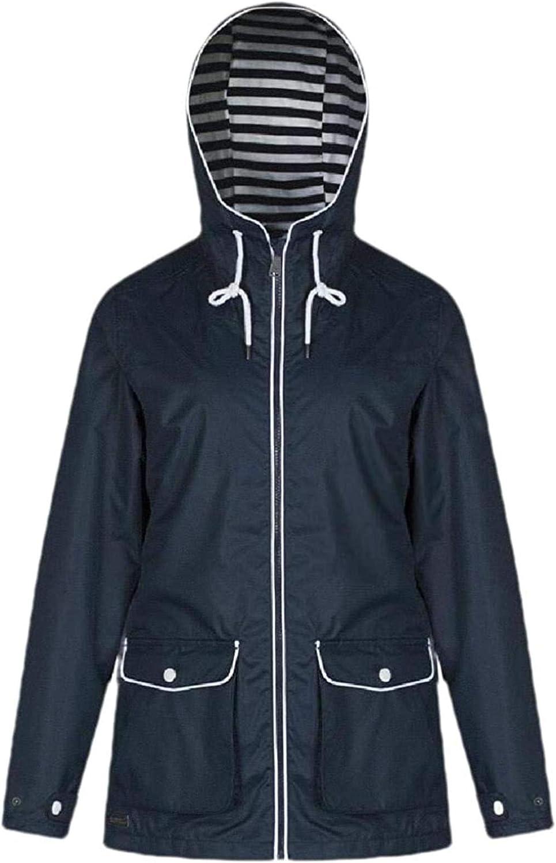 Women Jacket Hooded Outdoor Lightweight Zipper Windbreaker Solid Coat