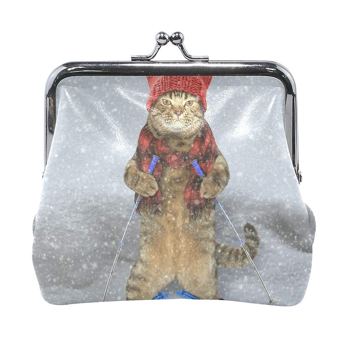 壊す昇る納得させるAOMOKI 財布 小銭入れ ガマ口 コインケース レディース メンズ レザー 丸形 おしゃれ プレゼント ギフト デザイン オリジナル 小物ケース 猫柄 可愛い 雪