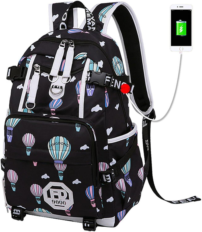 School Bag USB Women's Nylon Backpack Outdoor Travel Bag (color   A2, Size   32  13  46cm)