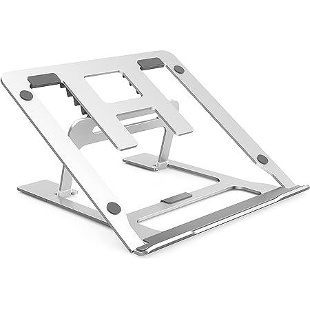 ノートパソコンスタンド ノートPCスタンド アルミ合金製 放熱性 軽量 滑り止め 安定性 折りたたみ式 ノートパソコンホルダー 高さ&角度調整 職場/家庭/テレワークなど適用 17インチまで対応