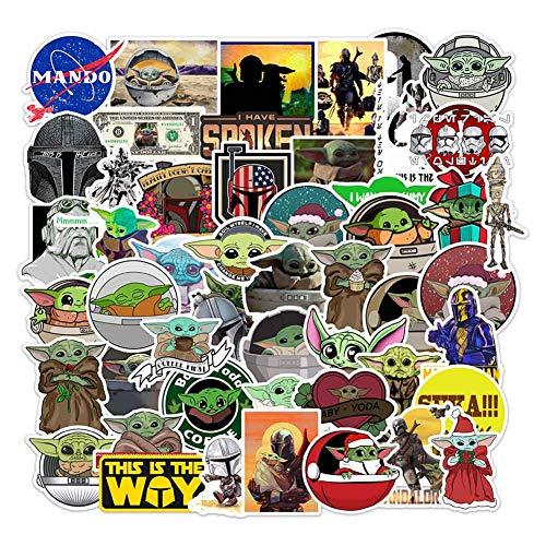 Junhongfu 50 Stks Star Wars Baby Yoda Stickers voor Laptop, Waterdicht Duurzaam Vinyl Laptop Stickers Pack voor Tieners, Bagage, Computer, Reizen Case