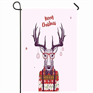 Ahawoso Outdoor Garden Flags 12x18 Inch Season Funny Christmas Nerd Hipster Deer Antler Holidays Drawing Winter Anthropomorphic Cool Design Vertical Double Sided Home Decorative House Yard Sign