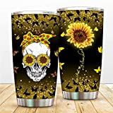 Sugar Skull Butterfly Vacuum Tumbler Cups Sunflower You Are My Sunshine Insulated Coffee Mugs with Lid, To Sister,Mom Thermos,Sunshine Bottle for Travel,Work,Fitness Cold Warm Beverage