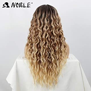 NOBLE Ombre Lace Front Wigs Freedom Part Beach Blonde Long Curly Wigs for Women Freedom Synthetic Water Wave Wigs Strand Shape No Tangle(28 inches, Beach)