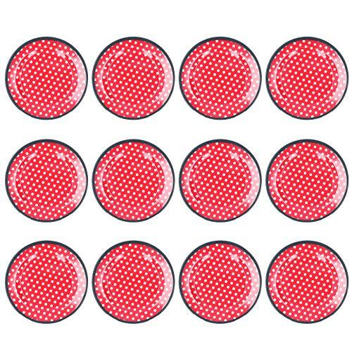 Xndz Plato de Comida, Plato de Ensalada de vajilla para Descanso para Dormitorio para salón para Cocina(Red Dots)
