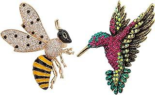 QKAIFRYSUG 2Pcs Jewelry Honey Bee Crystal Cute Birds Brooches Pin Hummingbird Swallow Colorful Bird Shape Corsage for Wome...