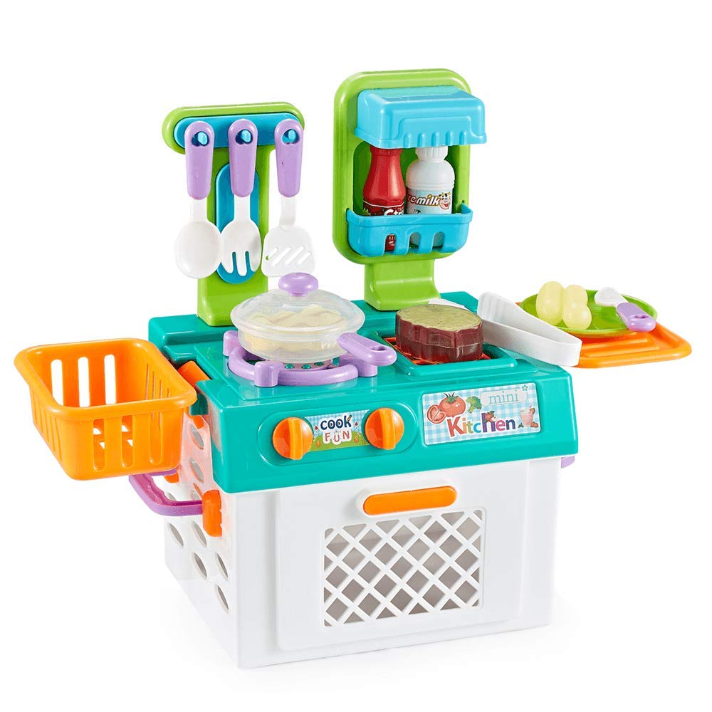 Think Gizmos Portable Toy Kitchen Set For Kids Tg704 With Cooking Effect Food Small Portable Play Kitchen For Kids Aged 3 4 5 6 7 Amazon Co Uk Toys Games