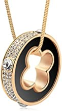 Dazzle flash Lucky Clover Circle Women's Imported Austrian Crystal Long Sweater Chain Necklace,NGG283