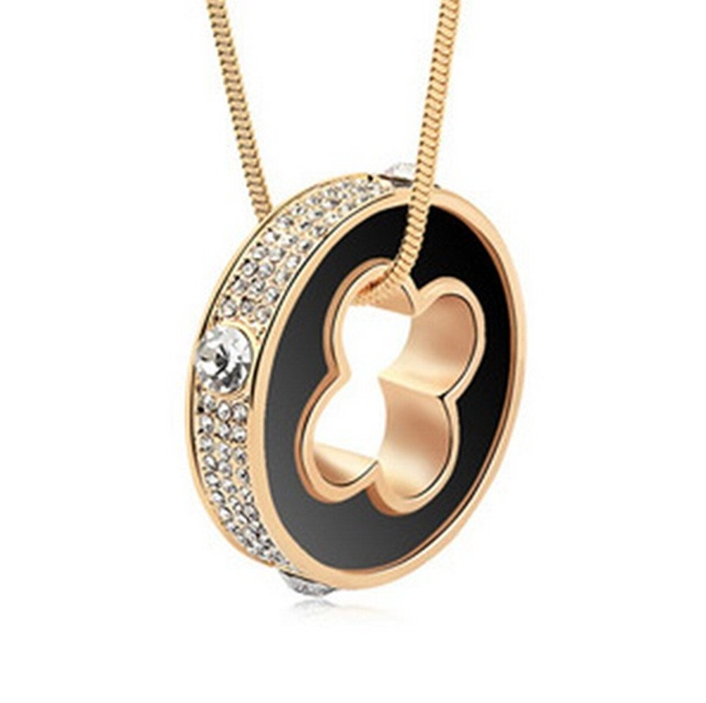 Dazzle flash Lucky Clover Circle Womens Imported Austrian Crystal Long Sweater Chain Necklace,NGG283