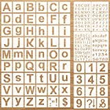 70 Pieces Letter and Number Stencils Set Reusable Plastic Letter Stencils Upper and Lowercase Alphabet Template in Calligraphy Font Number Sign Stencils for Painting on Wood Glass Door Holiday Decor