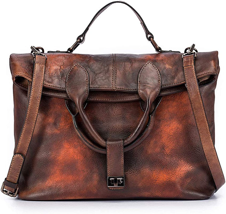 Women's Fashion Retro Bag Crossbody Handbag Pure color Leather Briefcase Bag(FM)