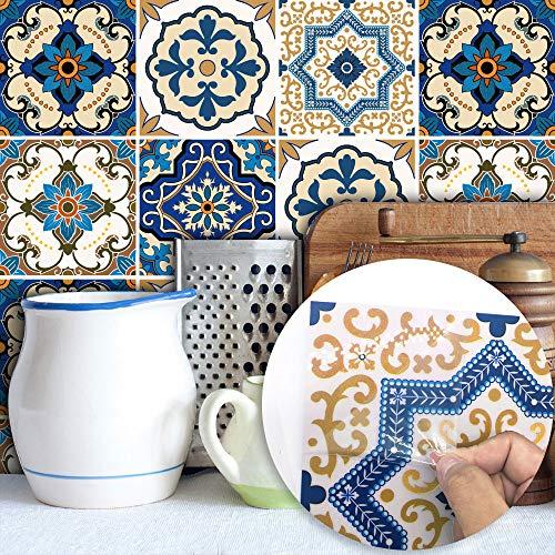 Topmail 24 Stück Fliesenaufkleber Bad 20 x 20 cm Fliesensticker küche Badezimmer Blau Klebefolie Folie Aufkleber Sticker für Küche Bad Küchendeko (Blau)