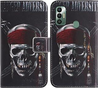 TienJueShi Skull Fashion Stand TPU Silicone Book Stand Flip PU Leather Protector Phone Case For Tecno Spark 7 6.5 inch Cov...