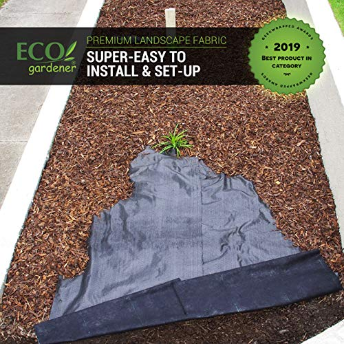 ECOgardener Premium 5oz Pro Garden Weed Barrier Landscape Fabric Durable & Heavy-Duty Weed Block Gardening Mat, Easy Setup & Superior Weed Control, Eco-Friendly & Convenient Design, 3ft x 50ft
