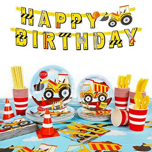 Decorlife 206PCS Construction Birthday Party Supplies for Boys, Construction Party Decorations with Plates, 54' x 108' Tablecloth, Happy Birthday Banner, Napkins, Cups, Cutlery Set, Straws, Traffic Cones - Serves 24