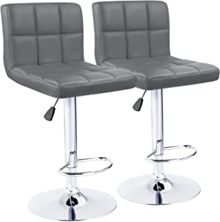 KaiMeng Bar Stools Modern Square Counter Height Bar Stool PU Leather Swivel Adjustable Stool Set of 2(Gray)
