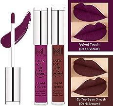 MI FASHION Liquid Matte Lipstick Deep Violet,Dark Brown 3ml each (Combo of 2)
