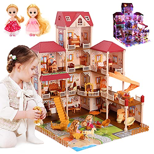 """CUTE STONE 11 Rooms Huge Dollhouse with 2 Dolls and Colorful Light, 34"""" x 32"""" x 28"""" Dream House Doll House Dreamhouse Gift for Girls"""