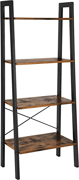Gallity Industrial Ladder Shelf 4 Tier Bookcase Storage Rack Plant Stand For Home Office Vintage Wood Look Accent Furniture With Metal Frame Suitble For Bathroom Living Room Black Walnut