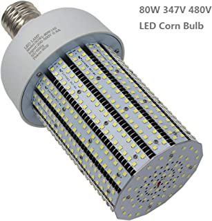 Caree-LED 320Watt Metal Halide Replacement 80W LED Corn Bulb Retrofit Shoebox 347 Volt 480 Volt Daylight White 5000K E39 Large Mogul Screw Base Warehouse Highbay Lamp Garage Workshop Lights (80)
