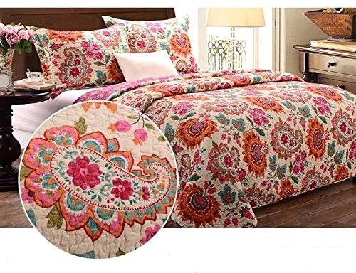 Beddingleer 100% Cotone set di 3 Coperte Letto Matrimoniale Invernale Morbido 230x250cm Multicolore