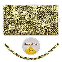 アルファベットビーズ 800個 A~Z文字ビーズ キューブ アクリルビーズキット DIYブレスレット ネックレス ジュエリーキーチェーン クラフト用 ゴールド