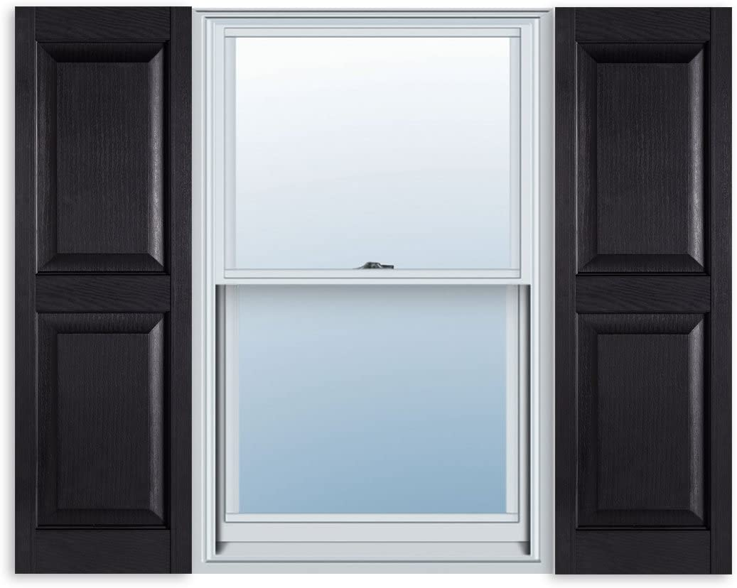 15 Inch x 35 Inch Standard Raised Panel Exterior Vinyl Shutters, Black (Pair)