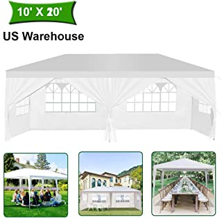 MTFY Outdoor Canopy Tent, Portable Gazebo Canopy Tent for Party Wedding Commercial Waterproof, UV Protection Shelter, Removable Sidewalls, Upgraded Spiral Tube (10x20ft 4 Sidewalls)