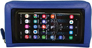 ili New York 7400 Zip Around Leather Wallet with Touch Screen Friendly Mesh Front and RFID Blocking Lining