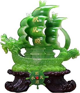 J.Mmiyi Feng Shui Resina Estatua Adornos Dragón Barco De Vela De Vela Escultura Figura, Riqueza Prosperidad Inicio Oficina Decoración Regalo,Verde
