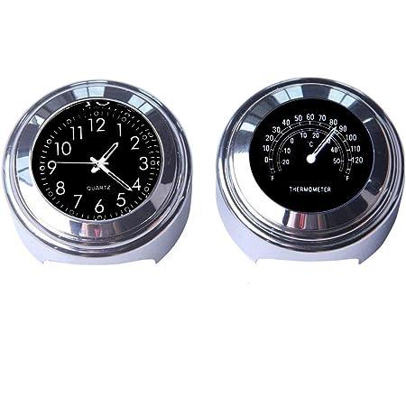 """Maso Lot avec horloge et thermomètre Pour guidon de moto 7/8"""" (22 mm) Universel Étanche Noir"""