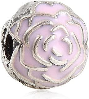 Rose Garden Clip with Pink Enamel Genuine 925 Sterling Silver Bead Fit DIY Bracelets