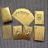 Wasserdichtes Design Goldene Spielkarten Langlebige Nutzung Goldfolie Poker Spielkarten Spieltischspiele (Gold) DEjasnyfall -