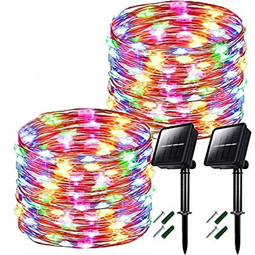 Chipark Solar Powered String Lights, Upgraded 2 Pack 50LED 16.4ft 8 Modes Solar Fairy Lights Waterproof Outdoor Garden Lights Copper Wire Lighting for Wedding, Patio Multicolor [Energy Class A++]