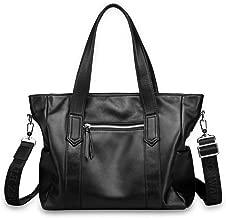 LHQ-hand bags Leather Men's Bag Shoulder Bag Head Soft Leather Fashion Backpack Casual Messenger Bag Men's Business Hand Strap Bag (Color : Black)