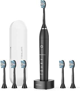 電動歯ブラシ USB充電式 LOFTWELL 音波歯ブラシ 4モード 超音波 歯ブラシ 2分間オートタイマー機能搭載 フル充電20日使え IPX7防水 替えブラシ6本付き (D5-電動歯ブラシ)