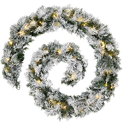 WeRChristmas Pre-Lit LED Snow Flocked Spruce Garland Christmas Decoration - 9 feet, White