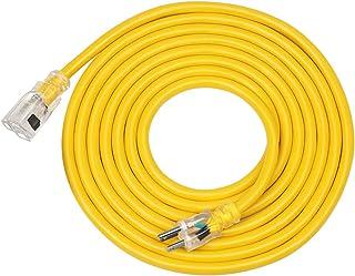 DEWENWILS 15 FT 12/3 Gauge Indoor/Outdoor Extension Cord with Lock, SJTW 15 Amp Yellow Outer Jacket Contractor Grade Heavy...