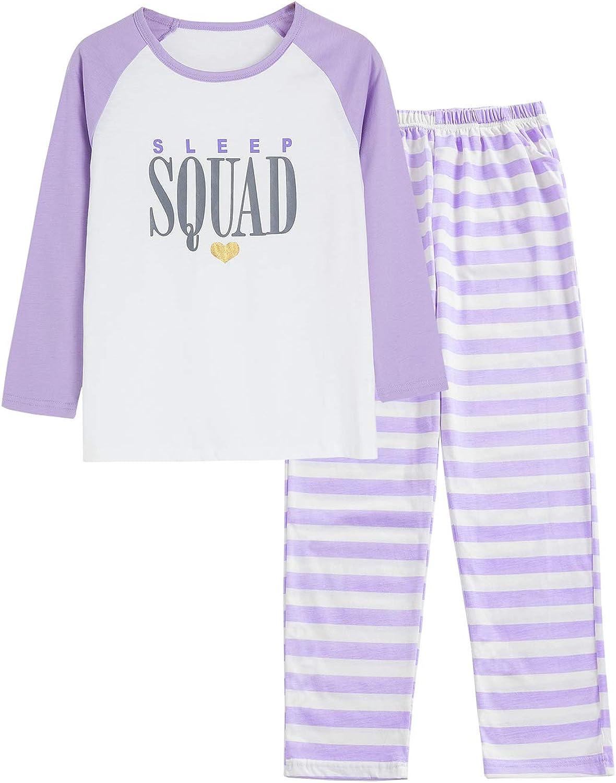 Pajamas for Girls Size 4T - 16 Pants & Long Sleeve Jammies Glitter Heart & Stripe Tween/Teens Fall Cloths Set