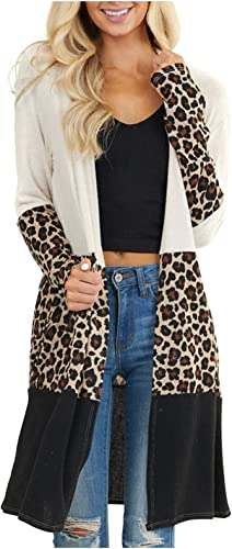 wholesale Fashion Oversize Lightweight Open Front Cardigans lowest outlet online sale for Womens Casual Loose Long Patchwork Leopard Outwear with Pocket outlet online sale